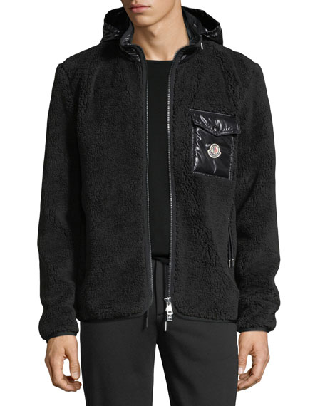 Moncler Contrast Mixed Media Jacket w/ Hood