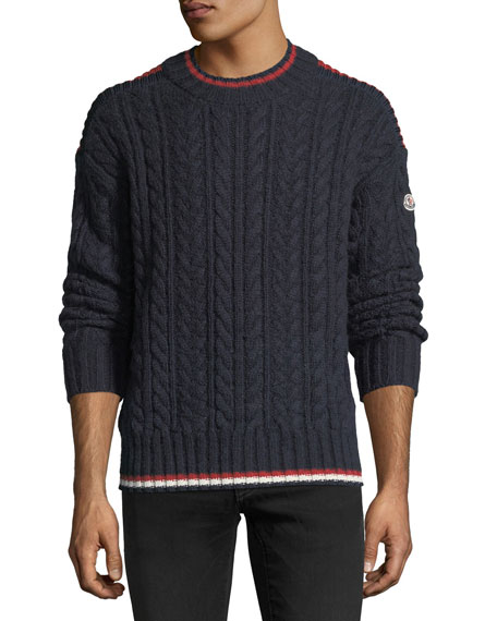 Moncler Contrast-Trim Cable-Knit Sweater