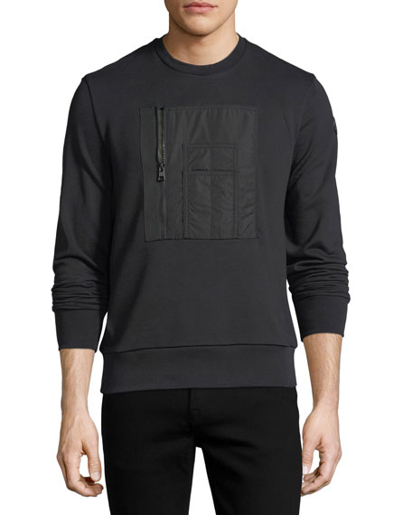 Moncler Patch-Pocket Cotton Crewneck Sweatshirt
