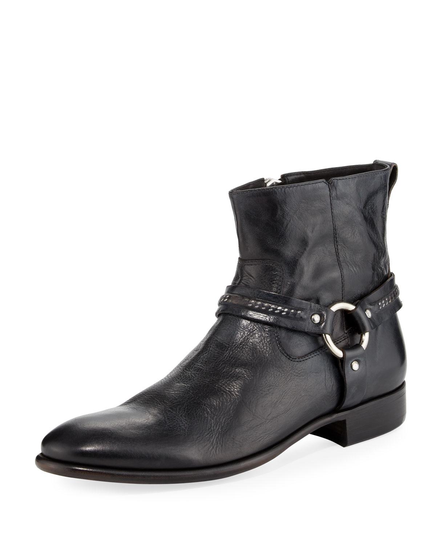 John Varvatos Eldridge Leather Harness Boot Neiman Marcus
