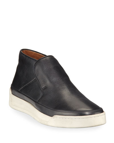Men's Remy Leather Mid-Top Slip-On Sneakers