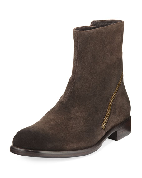 John Varvatos Waverly Zip-Heel Suede Ankle Boot