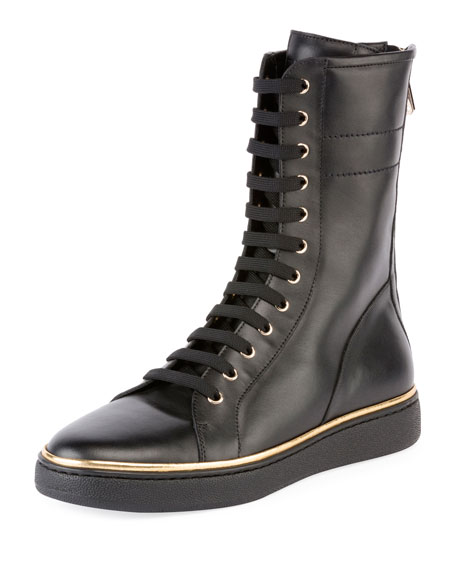 Balmain Albion Leather High-Top Sneaker Boot, Noir