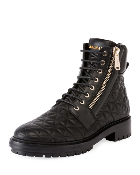 Balmain Army Ranger Quilted Leather Boot, Noir