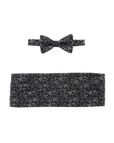 Flower Jacquard Cummerbund & Bow Tie
