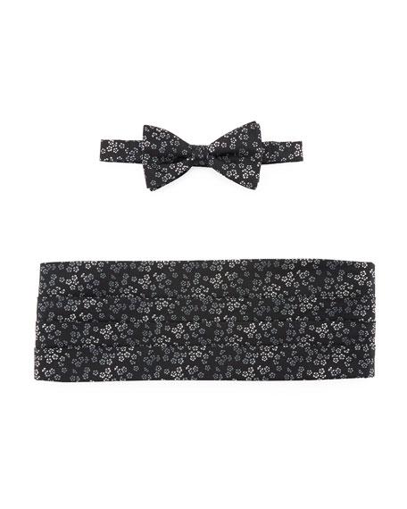 Neiman Marcus Flower Jacquard Cummerbund & Bow Tie
