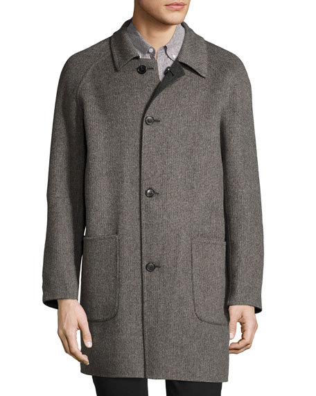 Reversible Virgin Wool-Cashmere Walking Coat