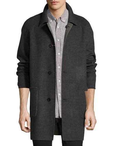 Reversible Virgin Wool-Cashmere Walking Coat