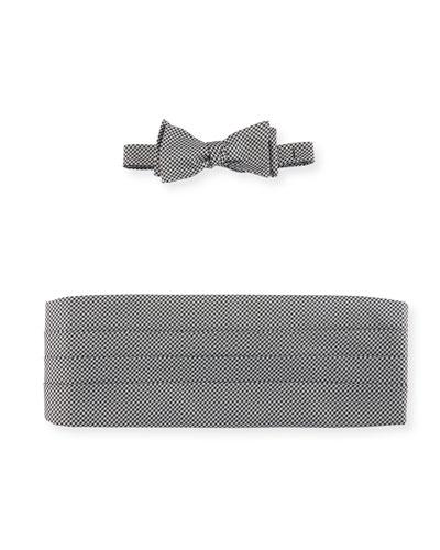 Houndstooth Silk Bow Tie & Cummerbund Set