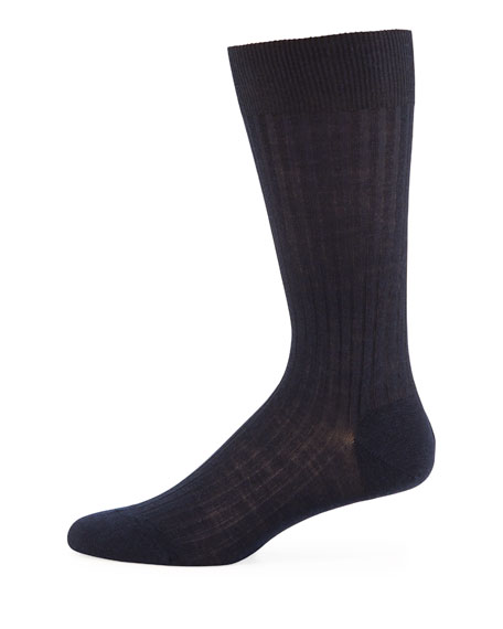 Pantherella Solid Wool Half-Calf Socks, Navy