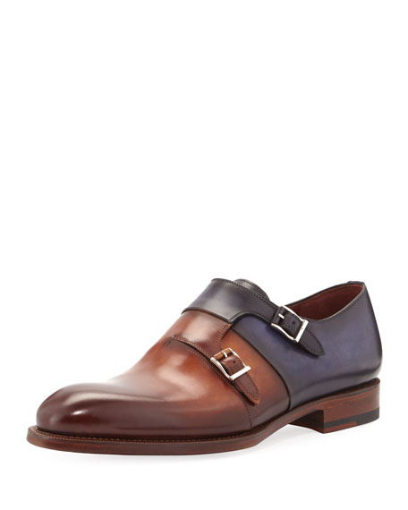Two-Tone Leather Double-Monk Shoe