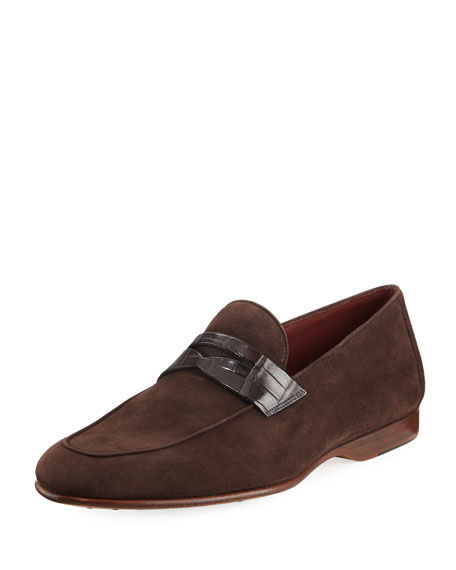 Magnanni Suede Penny Loafer with Alligator Strap