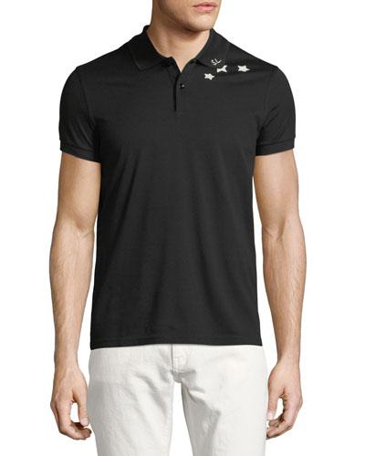 Star-Collar Cotton Pique Polo Shirt