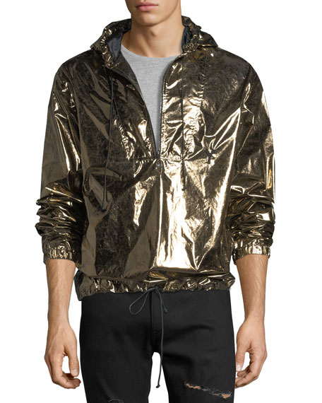 Saint Laurent Metallic Hooded Lightweight Anorak