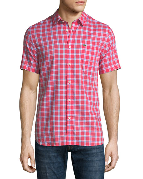 Lacoste Check Cotton Poplin Short-Sleeve Shirt