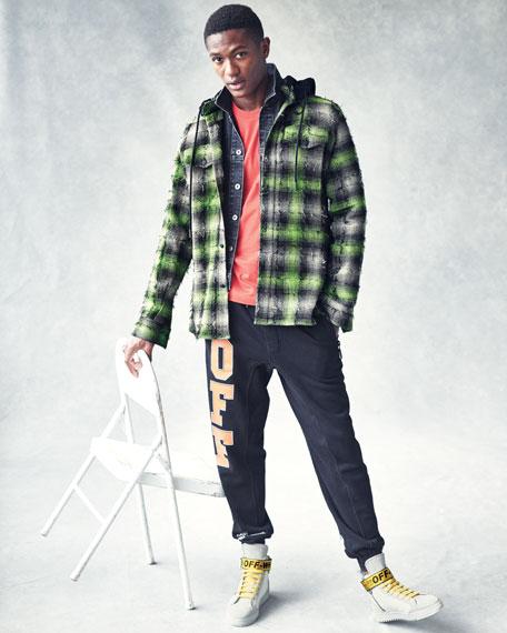 Diagonal Stripes Plaid Flannel Hooded Shirt