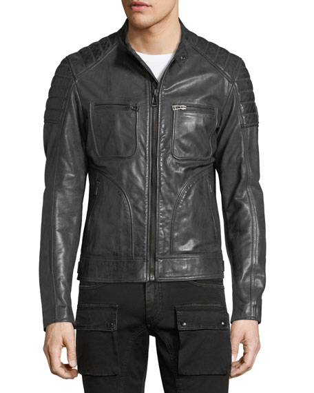 Weybridge Leather Cafe Racer Jacket
