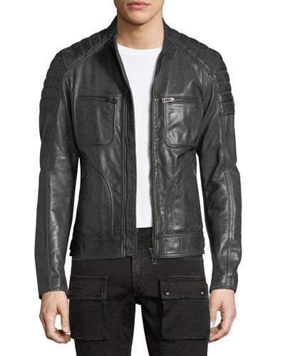 Weybridge Leather Cafe Racer Jacket