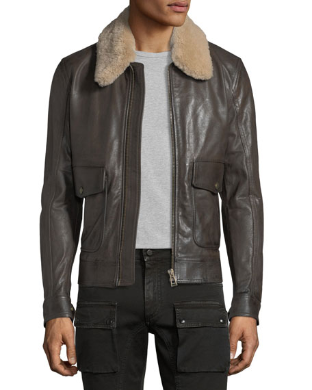 Belstaff Mentmore Shearling-Trim Leather Bomber Jacket