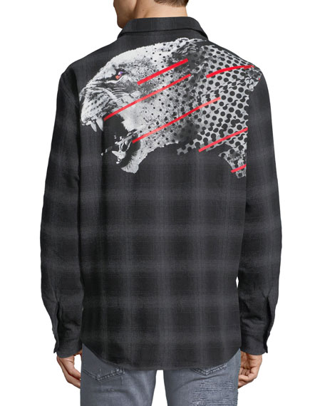 Sham Jaguar-Print Flannel Plaid Shirt