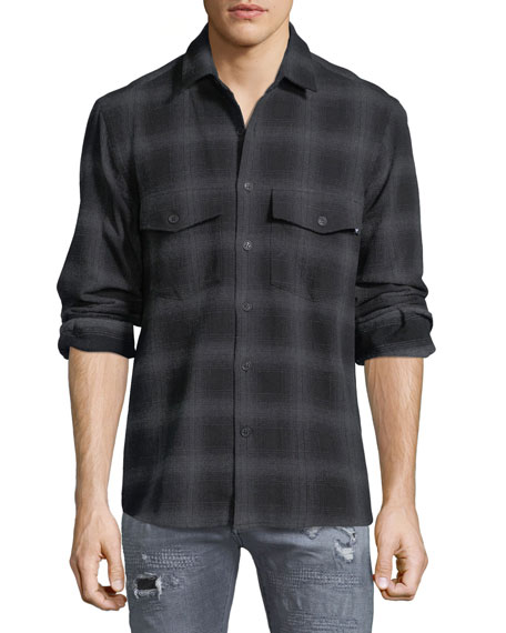 Marcelo Burlon Sham Jaguar-Print Flannel Plaid Shirt