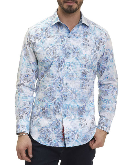 Robert Graham Bandier Paisley Medallion Sport Shirt, White