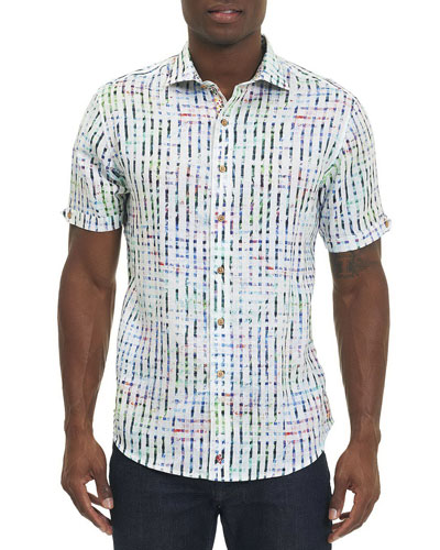 Diu Beach Linen Short-Sleeve Shirt, White