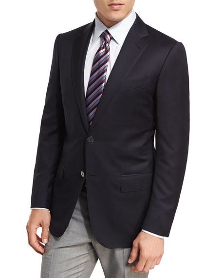 Milano Micronsphere Wool Two-Button Sport Coat, Navy