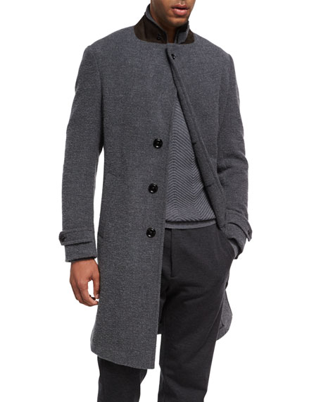 Four-Button Cashmere Boucle Overcoat