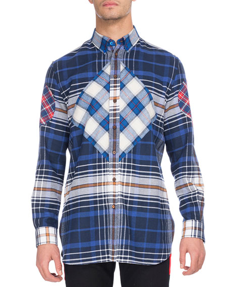 Givenchy Mixed Plaid Flannel Shirt