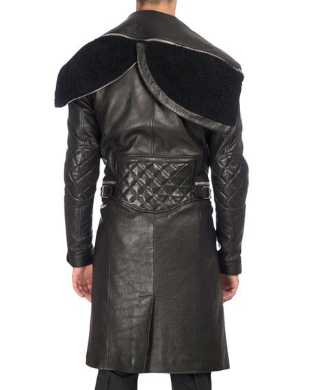 Calf Leather Long Moto Coat