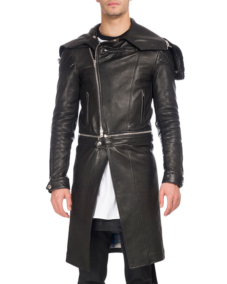 Givenchy Calf Leather Long Moto Coat