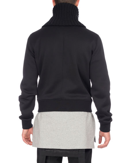 Funnel-Neck Zip-Front Sweatshirt