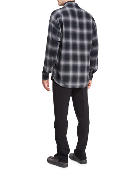 Ombre Buffalo Plaid Cotton Overshirt