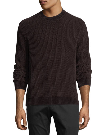 Ribbed Velour Crewneck Sweater