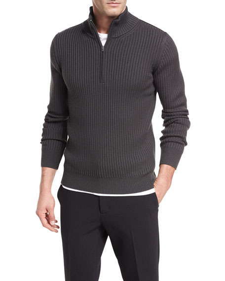 Ribbed Quarter-Zip Wool Pullover