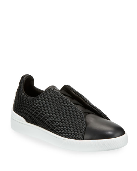 Ermenegildo Zegna Pelle Tessuta?? Triple-Stitch Slip-On Sneakers,