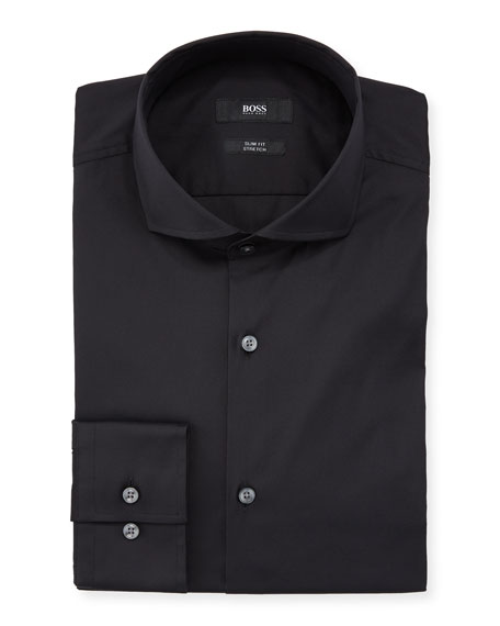 Slim Fit Stretch Solid Cotton Dress Shirt