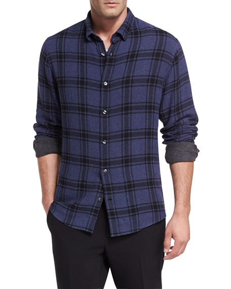 Vince Double-Faced Plaid Shirt