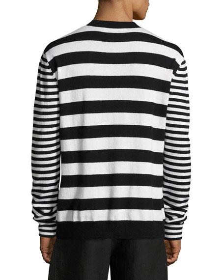 Alt-Stripe Wool-Cashmere Crewneck Sweater
