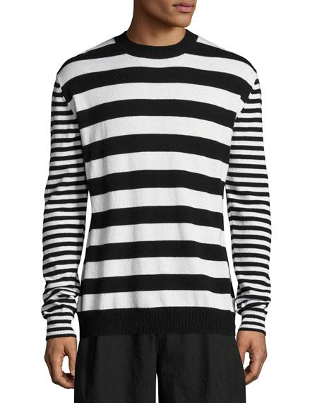 McQ Alexander McQueen Alt-Stripe Wool-Cashmere Crewneck Sweater