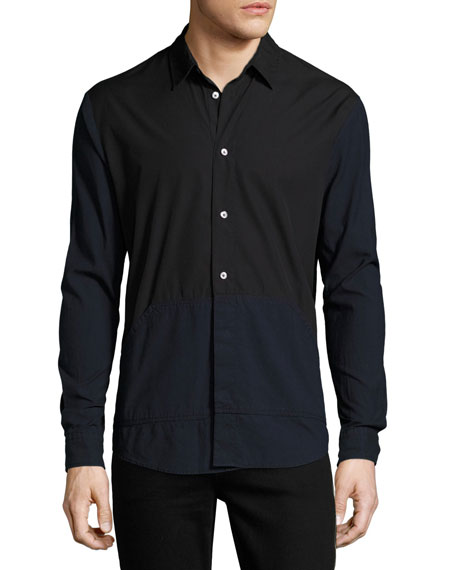 McQ Alexander McQueen Two-Tone Blocked Cotton Shirt