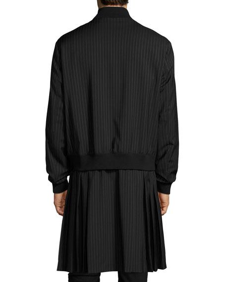 Pinstripe Extended-Hem Coat