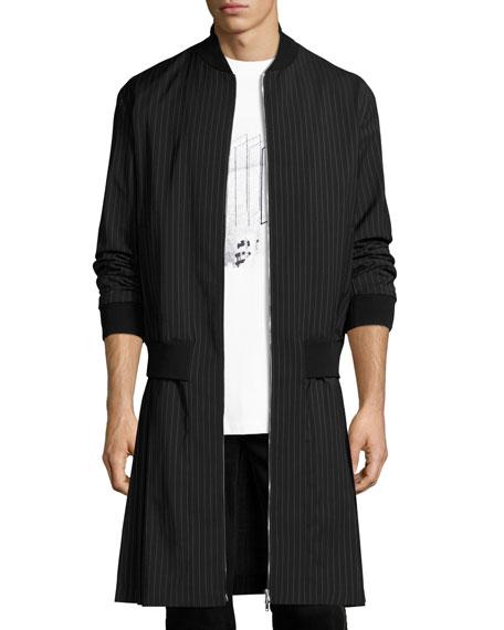 McQ Alexander McQueen Pinstripe Extended-Hem Coat