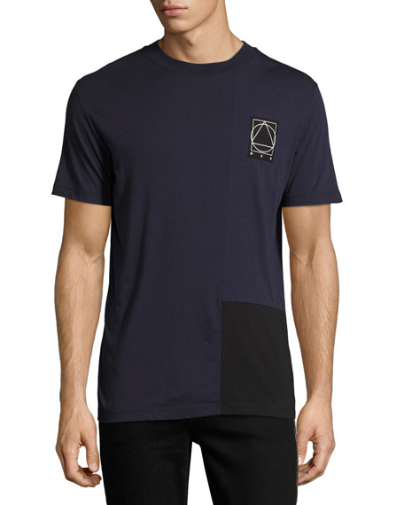 McQ Alexander McQueen Two-Tone Paneled Cotton Logo T-Shirt