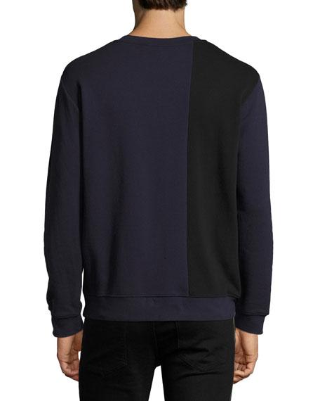 Two-Tone Paneled Cotton Logo Sweatshirt