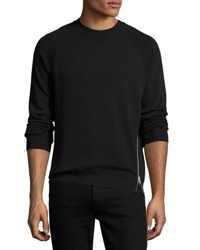 Side-Zip Cotton Sweatshirt