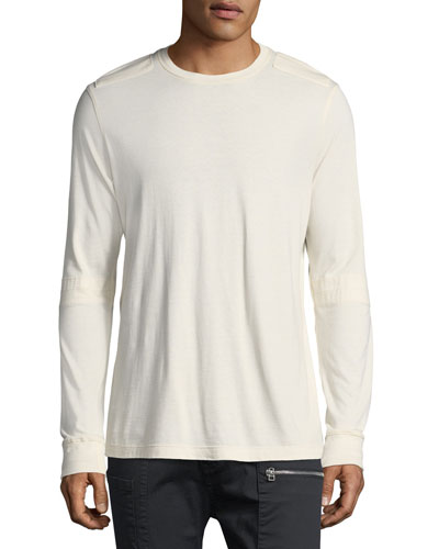 Elbow-Slit Long-Sleeve Cotton T-Shirt