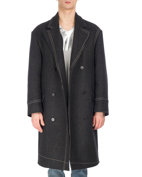 Contrast-Stitch Oversized Double-Breasted Virgin Wool Coat