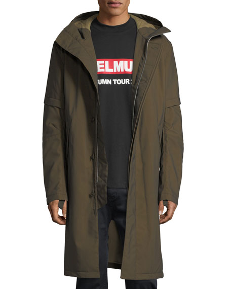Flat-Hood Zip-Front Long Coat